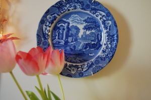 Happiness..tulips and blue and white china....